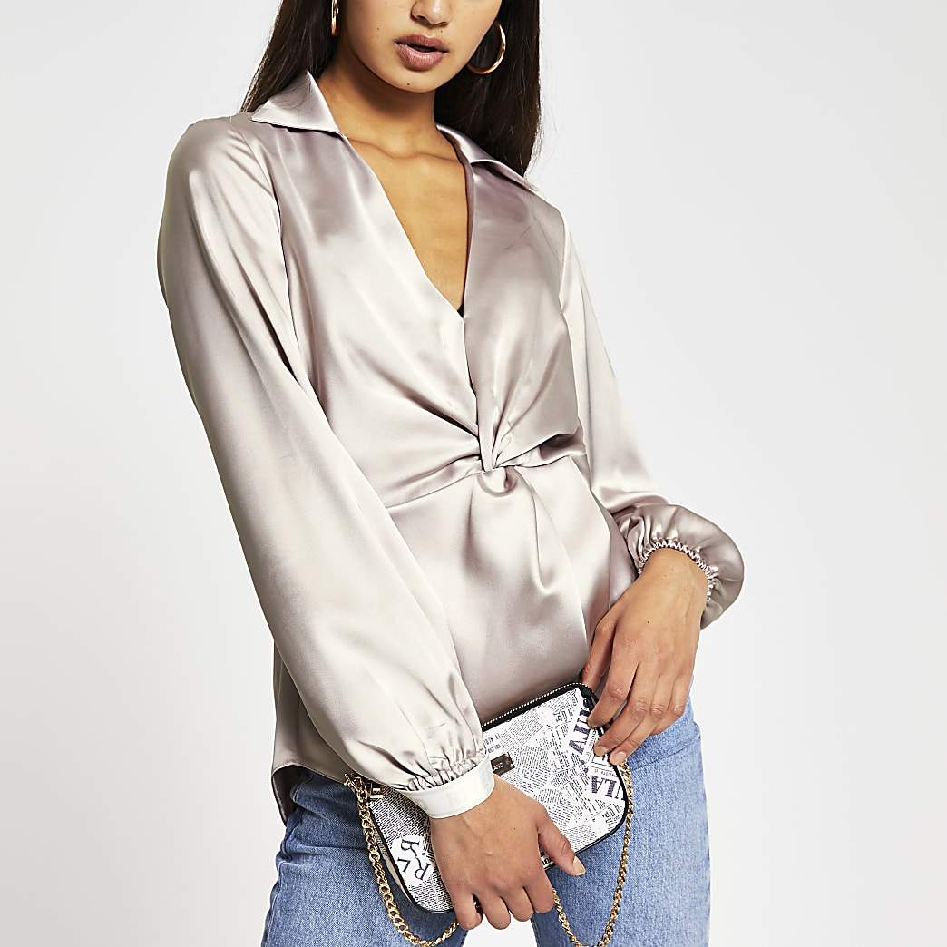 Grey long sleeve twist front top