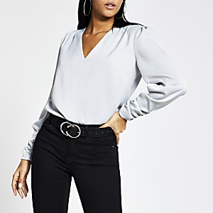 Grey long sleeve V neck satin blouse