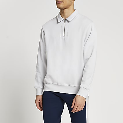 Grey long sleeve zip detail sweatshirt