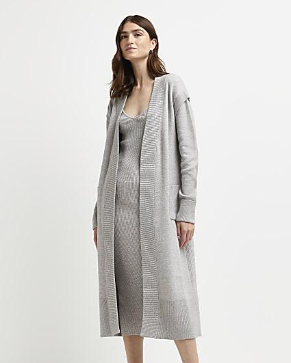 Grey longline knitted maxi cardigan