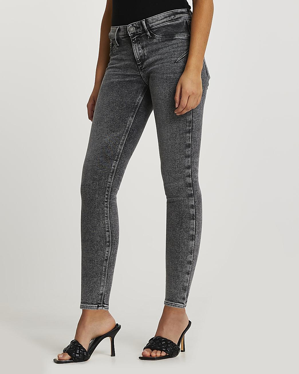 Grey low rise bum sculpt jeans
