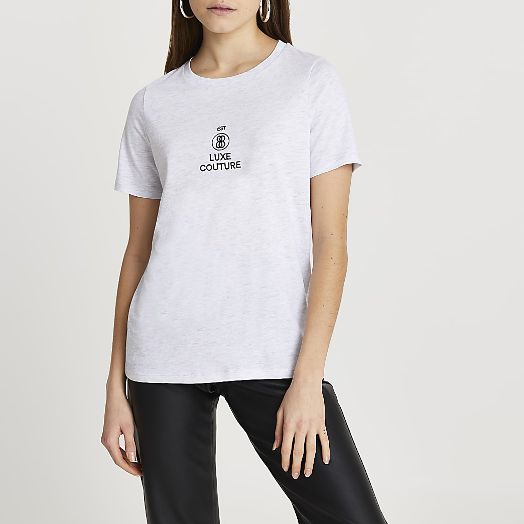 Grey 'Luxe Couture' embroidered t-shirt