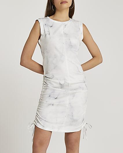 Grey marble print ruched mini dress