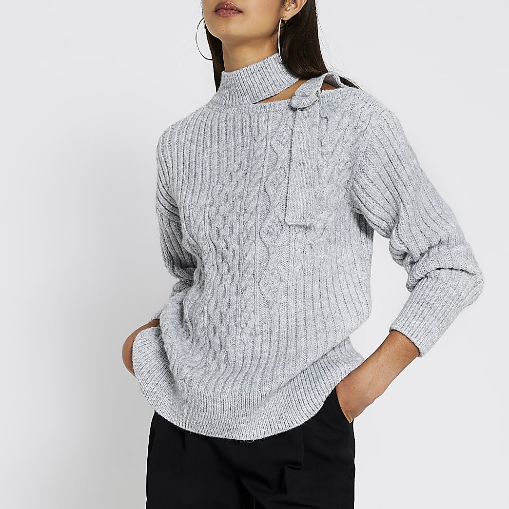 Grey marl chocker neck cable knitted jumper