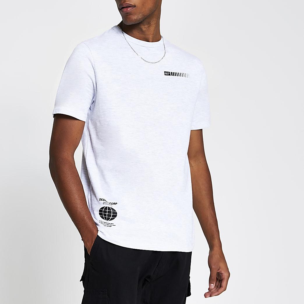 Grey marl graphic print slim fit T-shirt