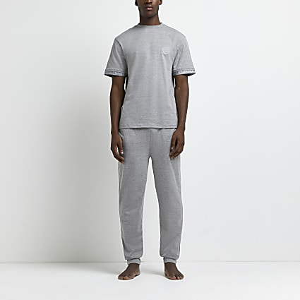 Grey marl Greek t-shirt and jogger pyjama set