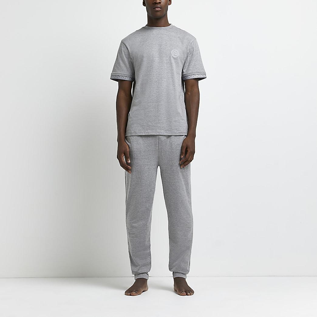 Grey marl Greek t-shirt and jogger pyjama set
