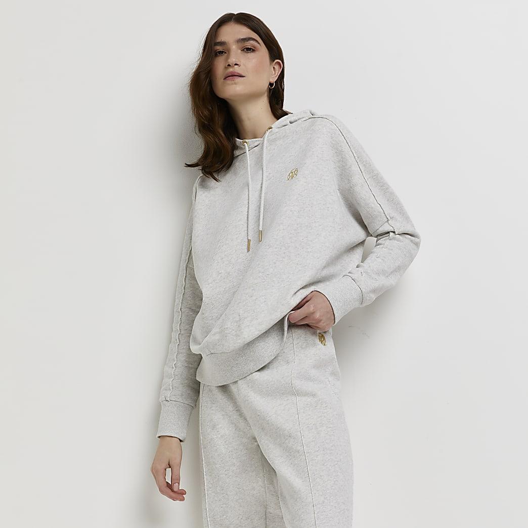 Grey marl long sleeve exposed seam hoodie