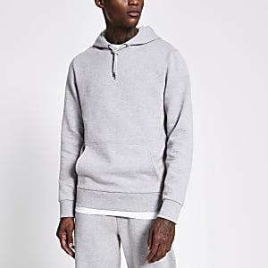 Grijze gemêleerde hoodie met lange mouwen
