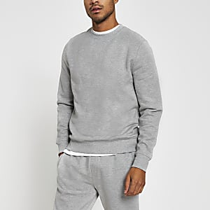 Grau melierter Pullover mit langen Ärmeln