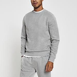 Grijs gemêleerd sweatshirt met lange mouw