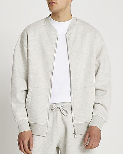 Grey marl oversized bomber jacket