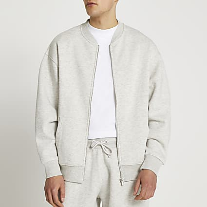 Grey marl oversized bomber