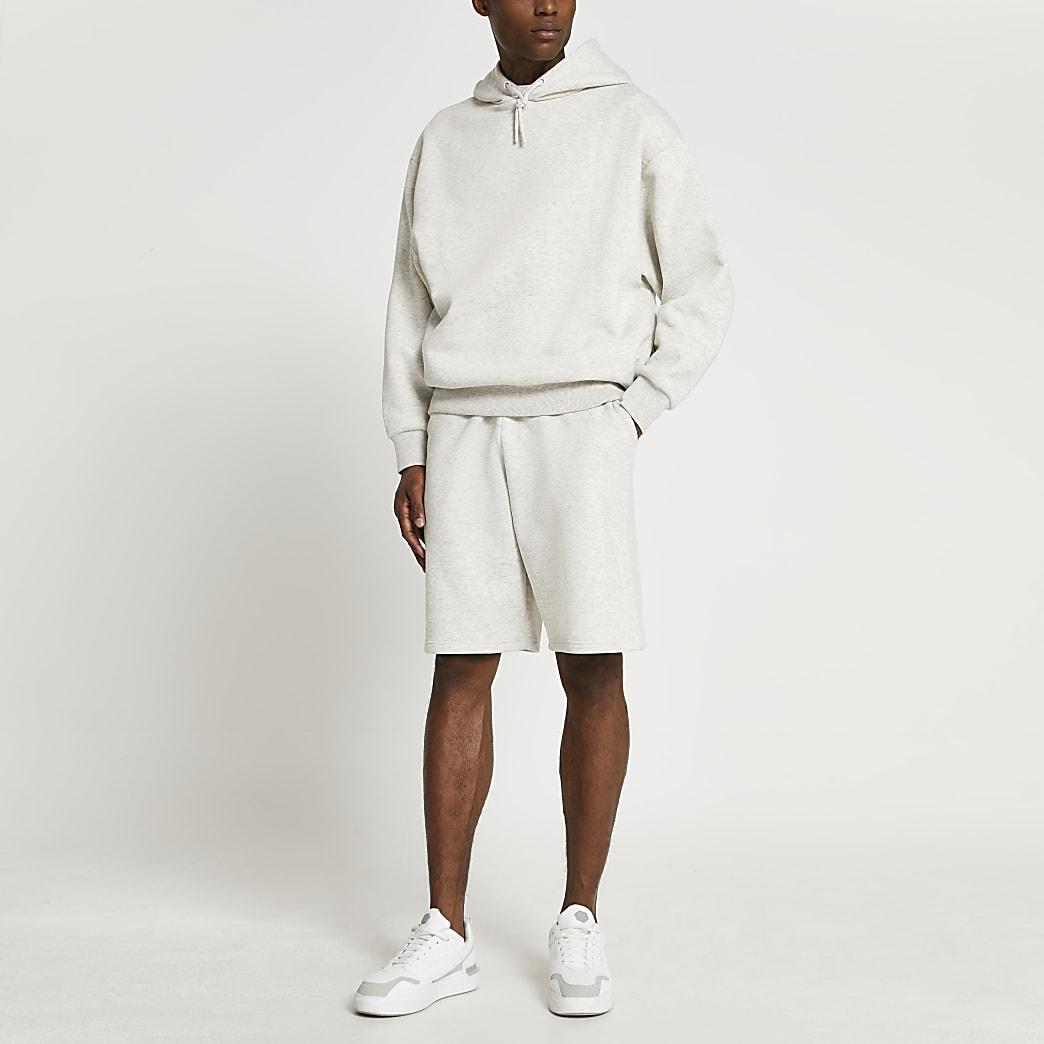 Grey marl oversized shorts
