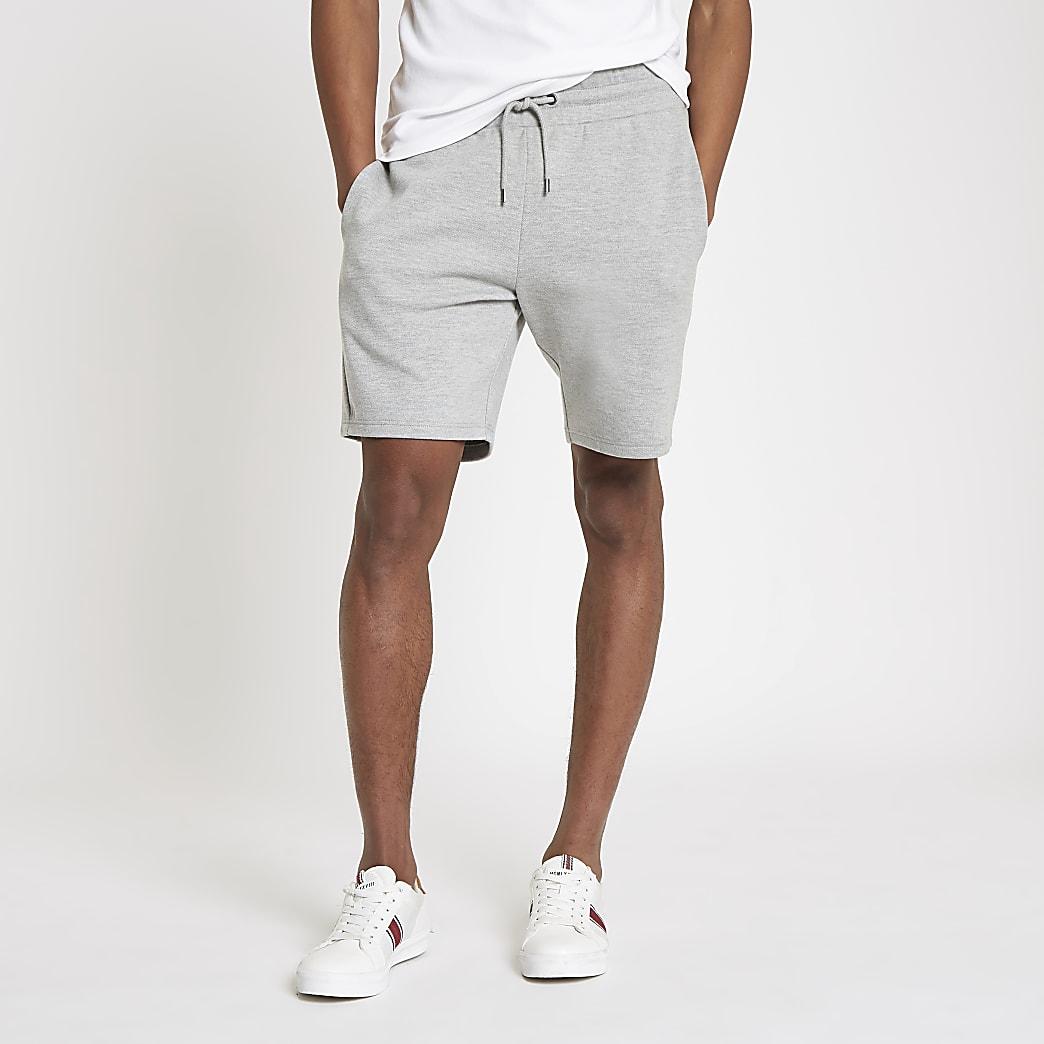Grijs gemêleerde piqué short