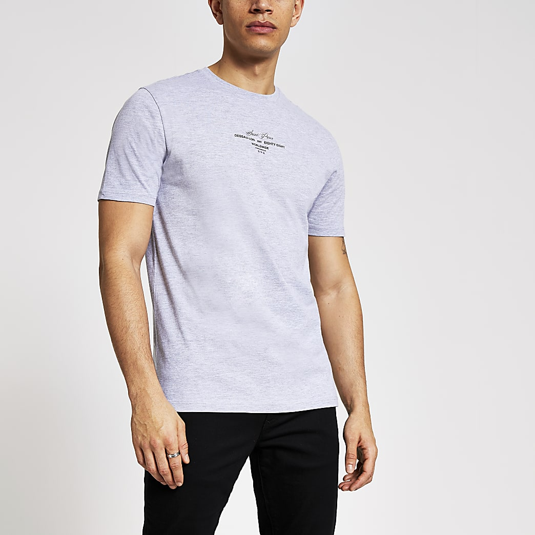 Grijs gemêleerd slim-fit T-shirt met print