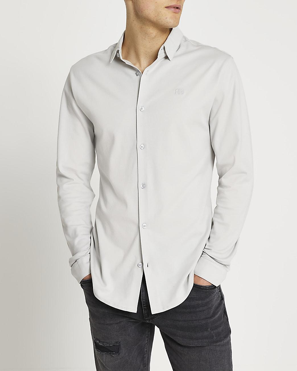 Grey marl RR muscle fit long sleeve shirt