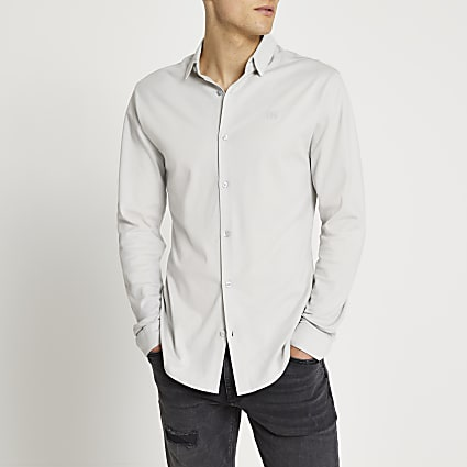 Grey marl RR muscle fit long sleeve shirt