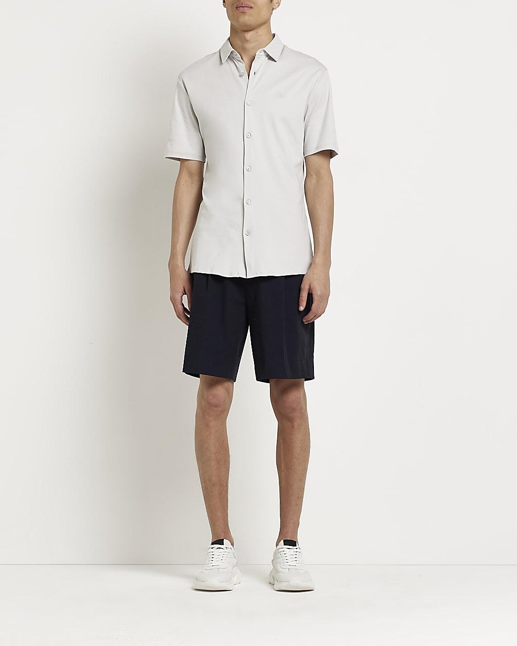 Grey marl RR muscle fit short sleeve shirt