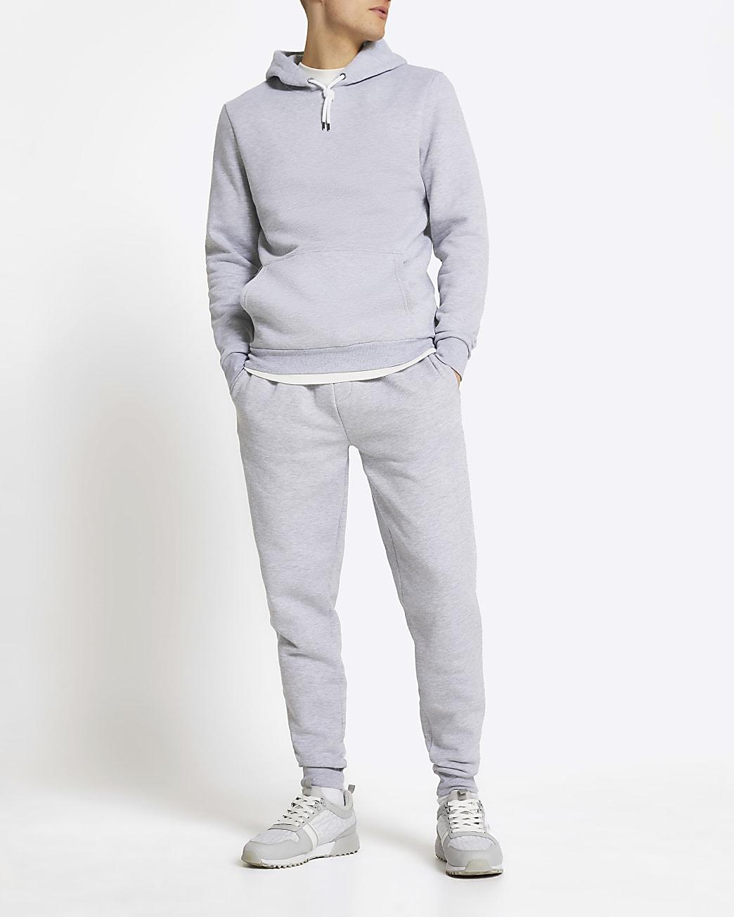 Grey marl slim fit basic hoodie