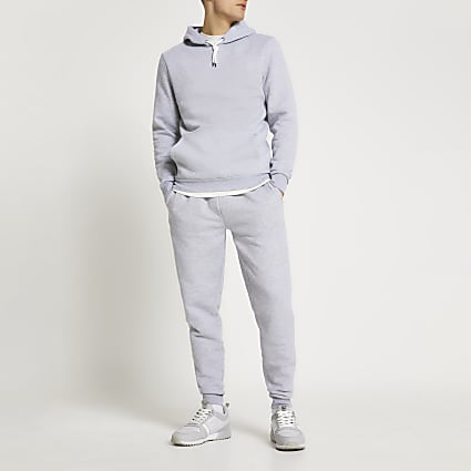 Grey marl slim fit basic hoodie