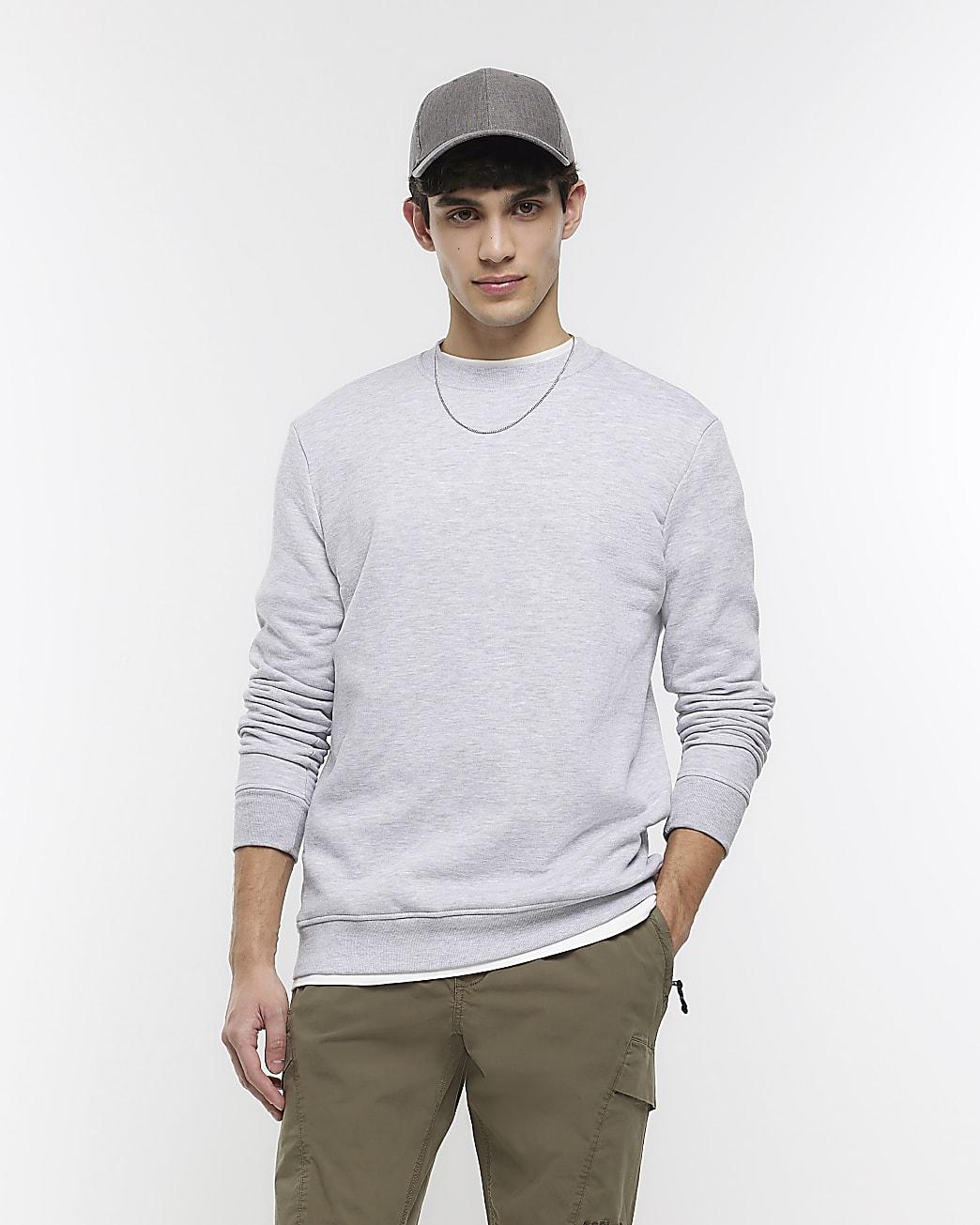 Grey marl slim fit basic sweatshirt