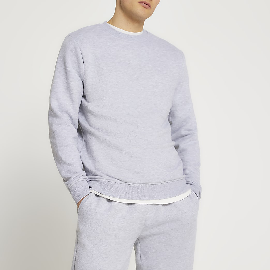 Grey marl slim fit basic sweatshirt