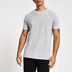 Grijs gemêleerd slim-fit T-shirt met ronde hals
