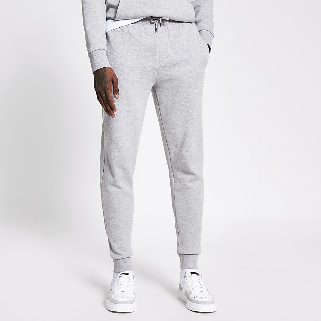 Grijs gemêleerde slim-fit joggingbroek