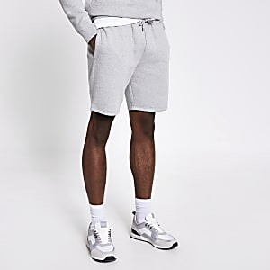Grijze gemêleerde slim-fit short