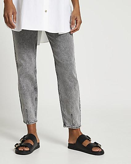 Grey maternity mom jeans