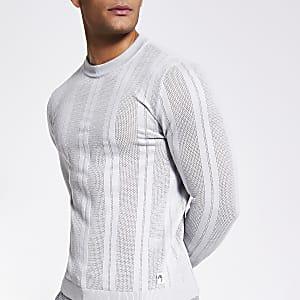 Lichtgrijze gestreepte slim-fit trui met mesh