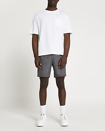 Grey micro check slim fit shorts