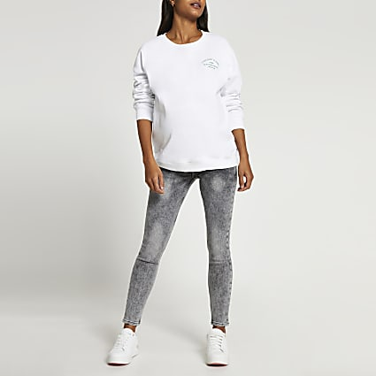 Grey mid rise Maternity jeans