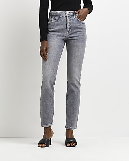 Grey mid rise slim fit jeans