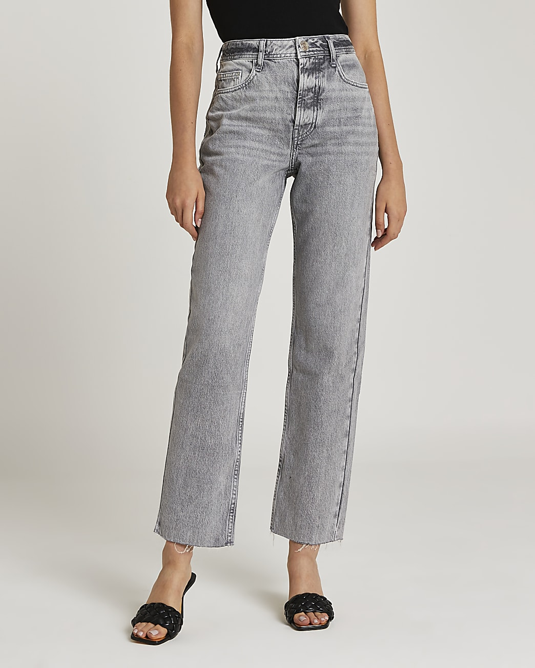 Grey mid rise straight jeans
