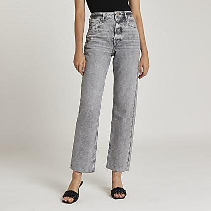 Grey mid rise straight leg jeans