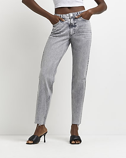 Grey mid rise tapered jeans