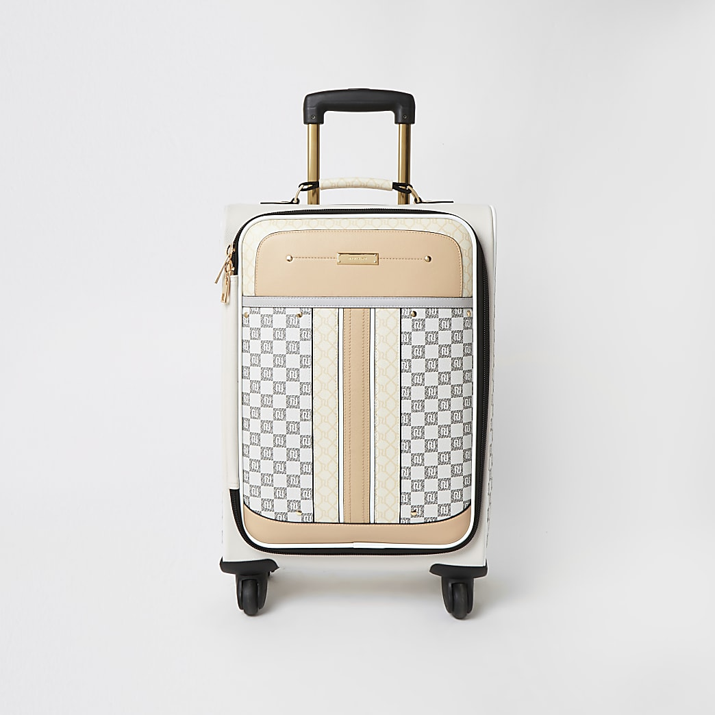 Grey mixed RI monogram four wheel suitcase