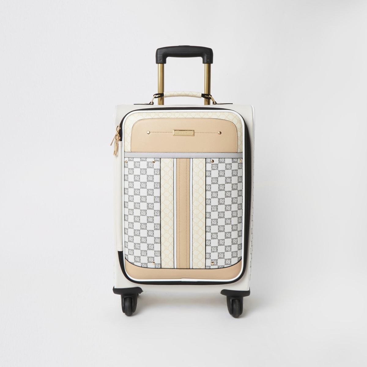 Grey mixed RI monogram four wheel suitcase