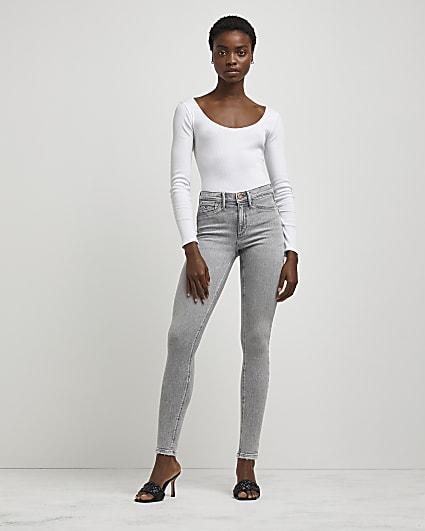 Grey Molly mid rise bum sculpt skinny jeans