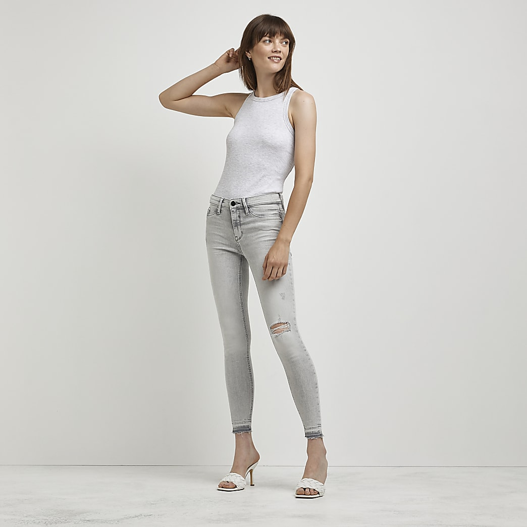 Grey Molly mid rise jeans