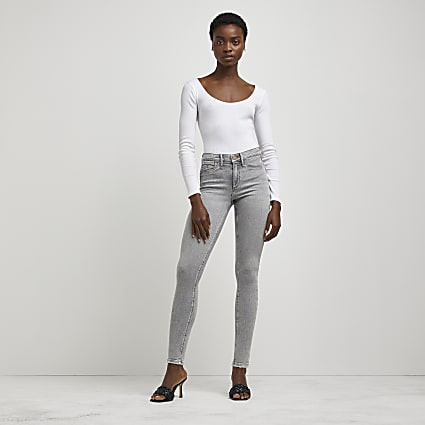 Grey Molly mid rise ripped sculpt jeans