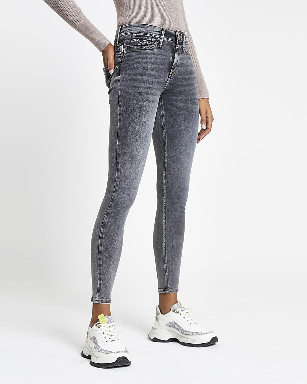 Grey Molly mid rise skinny bum sculpt jeans