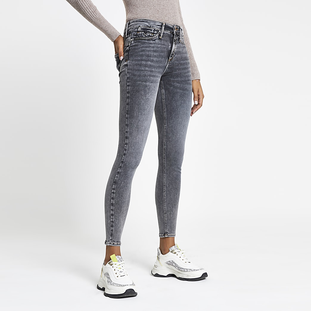 Grey Molly mid rise skinny bum sculpt jeans