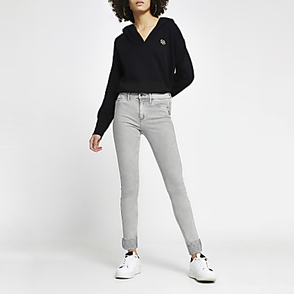 Grey Molly Mid Rise Skinny Jean