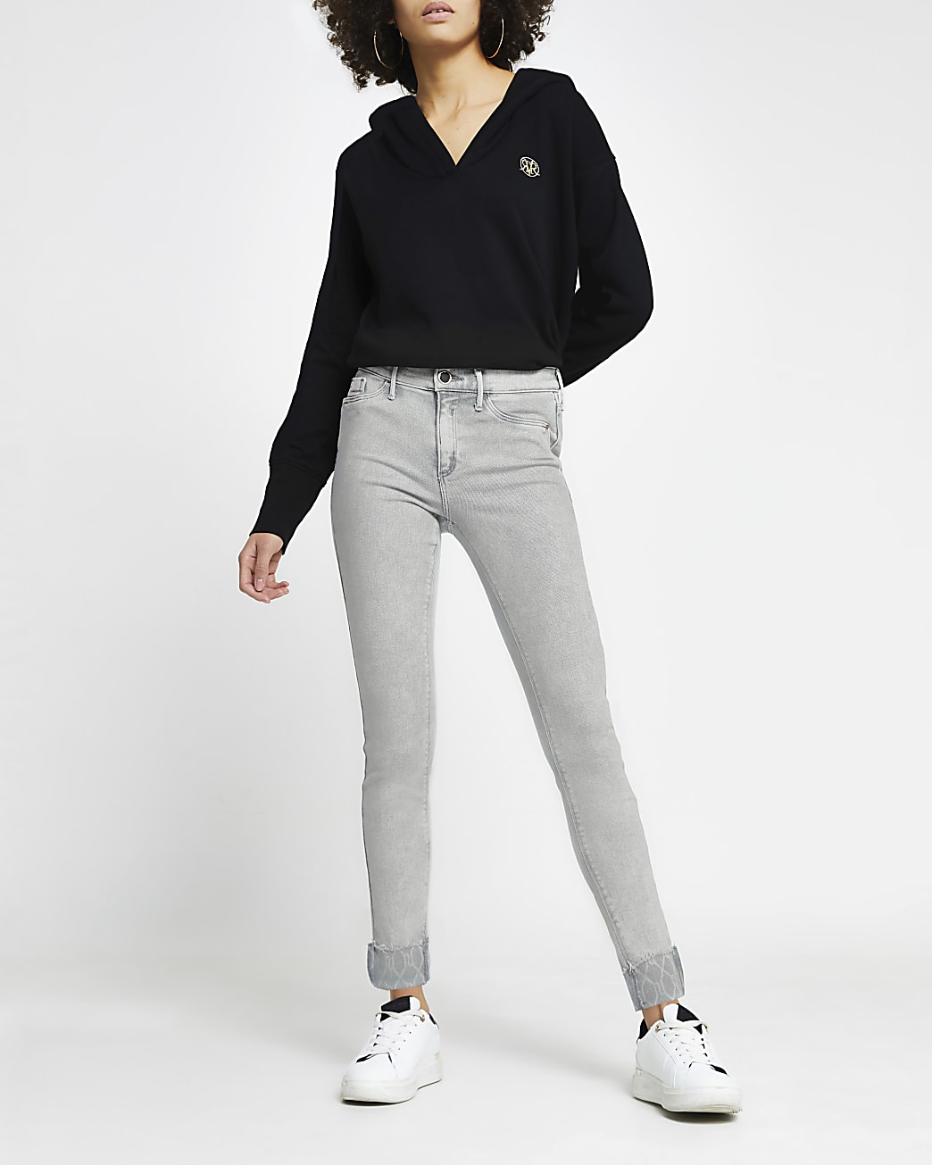 Grey Molly mid rise skinny jeans