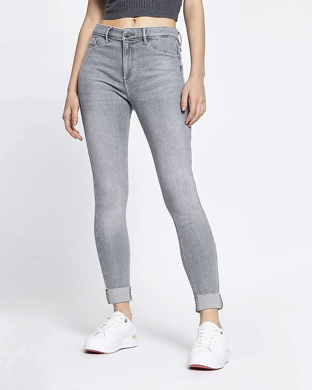 Grey molly mid rise turn up denim jeans