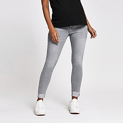 Grey Molly skinny maternity jeans