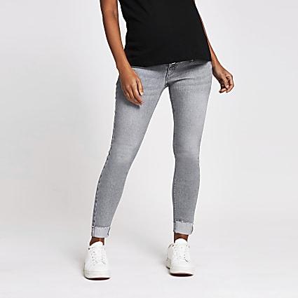 Grey Molly skinny maternity jeans